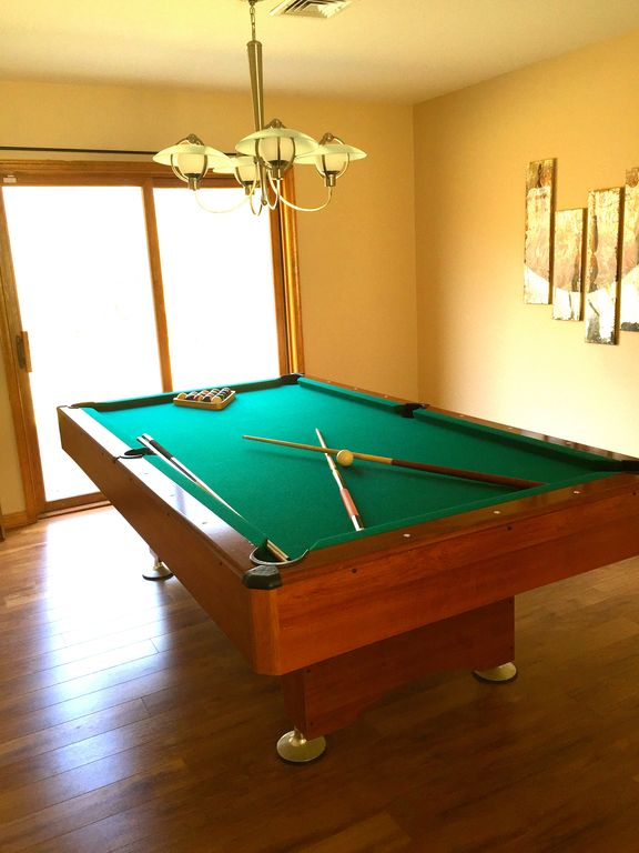 Professional 8 Foot Pool Table Across The Dining Room With Access To  Backyard