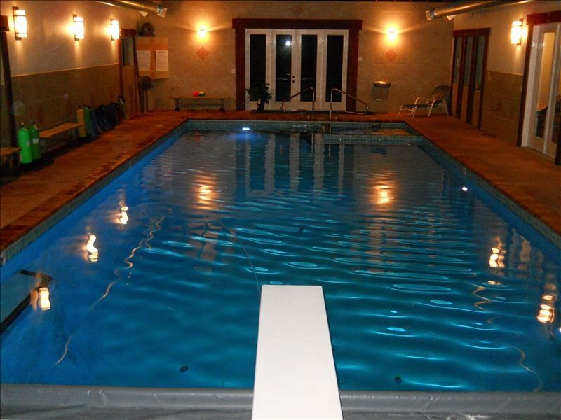 New Indoor Pool 20 X 45 With Diving Board Heated Floors And Bathroom