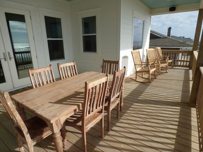 We have 5 Rocking Chairs on the covered deck and the table seats 6