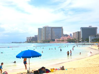 The waikiki Beach is just 2 minutes from the condo
