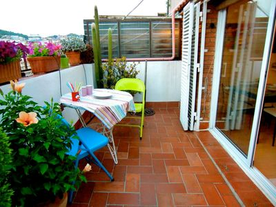 Photo for Top Floor Apartment w/ Private Terrace, in Gracia and Minutes from Downtow