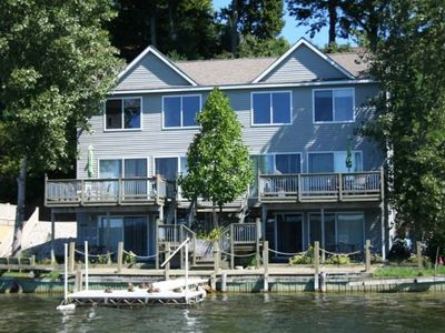 Photo for Large lake-front house in a beautiful little town. Lake views from every room!
