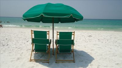 One Beach Chair Setup as shown is included on Maravilla's Private Beach!
