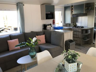 Photo for New mobile home, 6/8 people, fully equipped, 3 bedrooms, 2 bathrooms, air conditioning, terrace