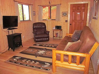 Living room with full-size futon sleeper.