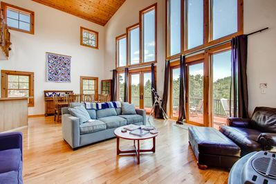 Enjoy the expansive family area and the views from the comfort of the couch.