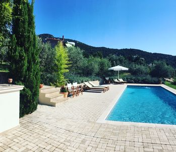 Photo for Luxury Villa, Tennis Court, Private Pool set in an Olive Grove with Sea Views