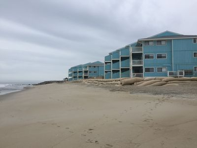 View of The Riggings Condos from the Beach...we are in the last building