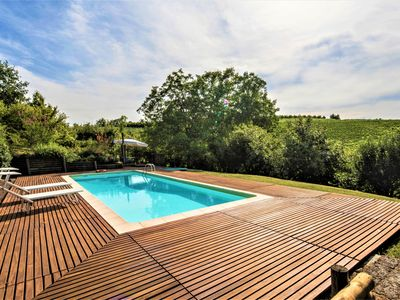 Photo for Villa Mezzaluna with private pool, A / C, Wi-fi on the Langhe hills, 5km from Alba