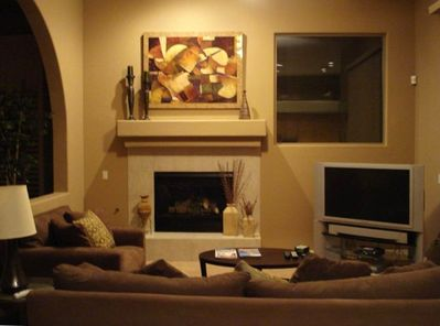 Family Room with Fireplace and Large Screen TV