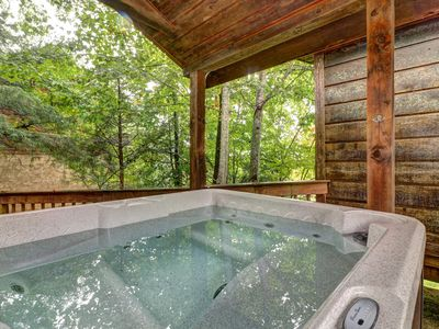 Photo for NEW LISTING! Dog-friendly cabin in the woods w/ fireplace, pool table, & hot tub