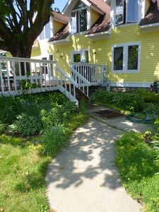 Path from garage to deck in the back of the house.