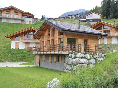 Photo for Superb new chalet, built in 2010, in the middle of the ski resort of Tzoumaz.