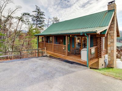 Photo for Dog-friendly cabin w/ private hot tub & shared seasonal pool - great location!