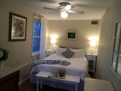 The front bedroom with a queen bed