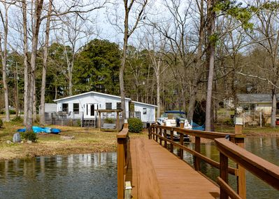 Lakeside with dock and boat ramp