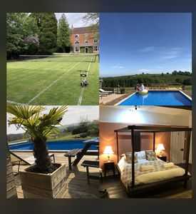 Boulsdon Croft Manor with hot hub and summer heated pool & grass tennis court