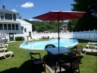 Heated pool at the Claddagh Motel & Suites a two minute walk from the Irish Rose
