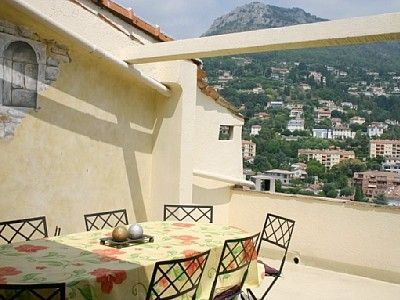 The terrace with table and view