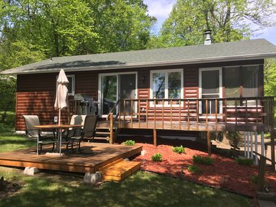 Photo for Secluded family cabin on Gull Chain 2 min from town- Sauna, Beach, Pontoon