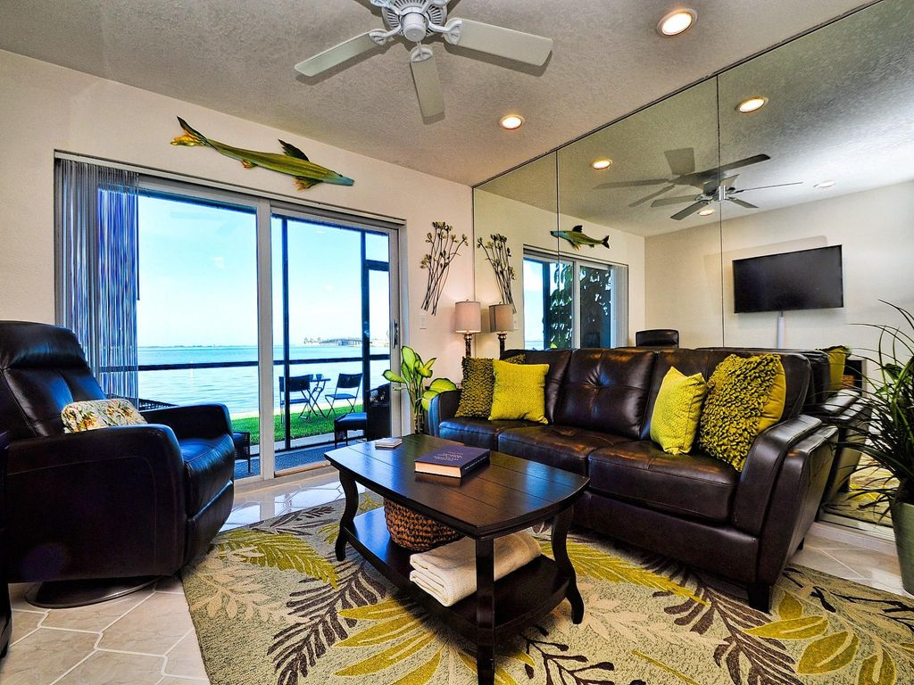 Living Room Has A View Of The Gulf Of Mexico.
