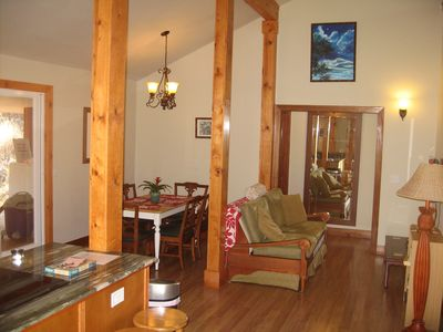 Vaulted ceilings, granite counters and a flat screen television..