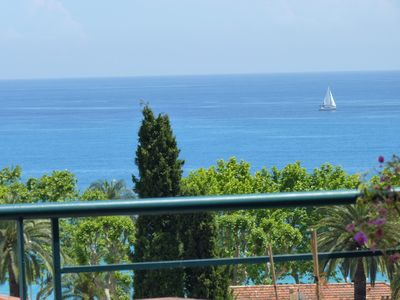 Photo for Sea view, wifi, bright, spacious + balcony, near beach, shops and calm