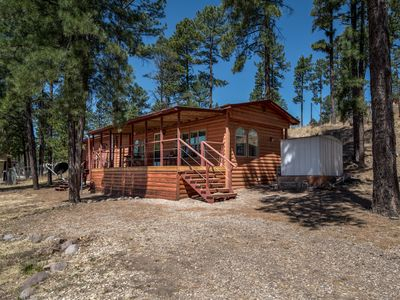 Photo for Comfy Cabin Located in Town Walking Distance to Farley's w/ Deck & Free WiFi