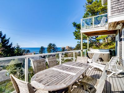 Photo for Gorgeous dog-friendly home with ocean views, beach access & private hot tub