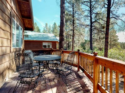 Photo for Charming, dog-friendly cabin in the forest - near parks, skiing & hot springs