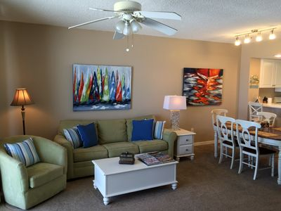 Cool colors with beach accents will surround you.