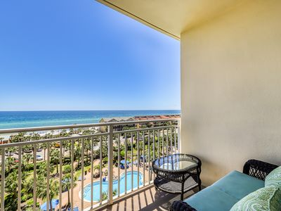 Photo for Relaxing condo w/ gulf views from private balcony - pool, gym & BBQ area!