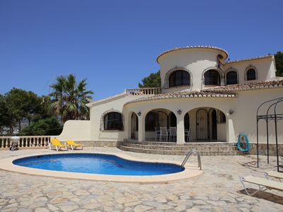 Photo for Superb family villa with private pool - stunning sea and mountain views- Air con