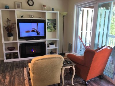 Living space with TV/DVR & electric fireplace