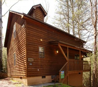 Mountain Hideaway #338- View of the cabin - This cute 2 bedroom, 2 bath cabin is located within walking distance of Gatlinburg's historic Arts and Crafts Community and trolley stop.