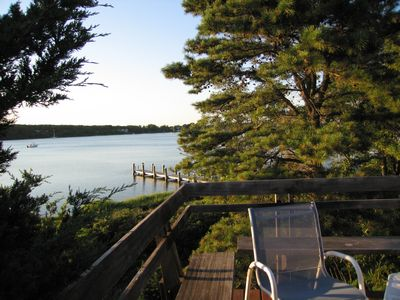 Photo for Lovely waterfront home with private, sandy beach and mooring on Lagoon Pond