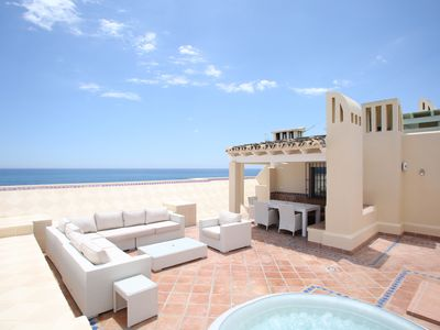 Photo for Frontline Estepona Penthouse Duplex With Roof Top Terrace & Hot Tub