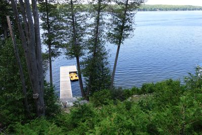 Looking down on the dock from the cottage deck.