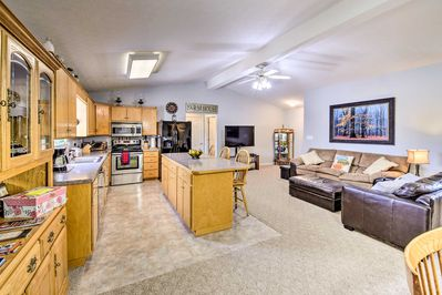 The 3-bedroom, 2-bath home is ideal for groups of 7!