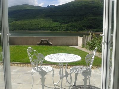 On the shore in Lomond Park with stunning Views of the Arrochar Alps