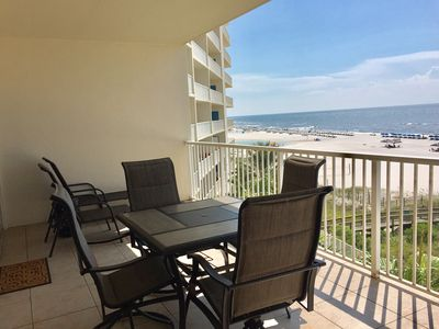 Large Gulf Front Balcony with Table and Chairs and 2 Loungers