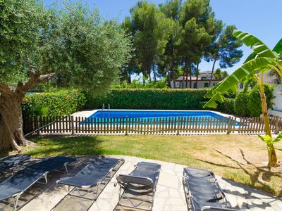 Photo for Club Villamar - Beautiful villa designed in Ibicenco style, offers a nice private fenced pool, pi...