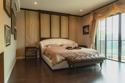 Master Suite with walk - In Robe french Silk curtains ultimate luxury Balcony