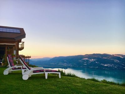 Photo for Chalet between lake and mountain, exceptional view!