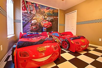 Cars Room with Custom Lightning McQueen Twin Beds and Custom Checkered Flooring