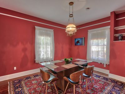 Dining Room - When it's time to eat, gather in the formal dining room with antique lighting and seating for 6.