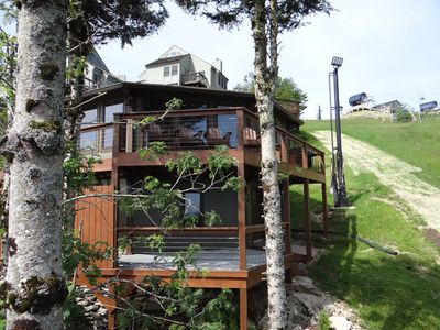 Nestled in mature trees with panoramic views
