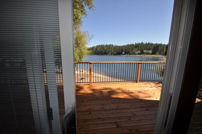 View from the slider in the living room, Unit 1 Lot 266, Vacation Rental (Mountain Lakeside Retreat)