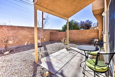 Relax under the wide New Mexico sky in the private backyard of your condo.
