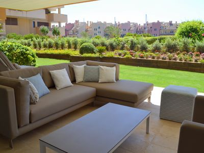 Photo for Stunning ground floor apartment overlooking Sotogrande Marina